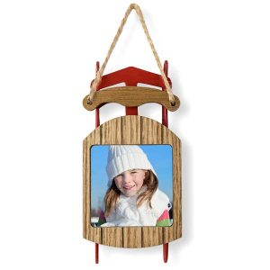 Create a beautiful sled photo ornament by adding your own photo to the sled