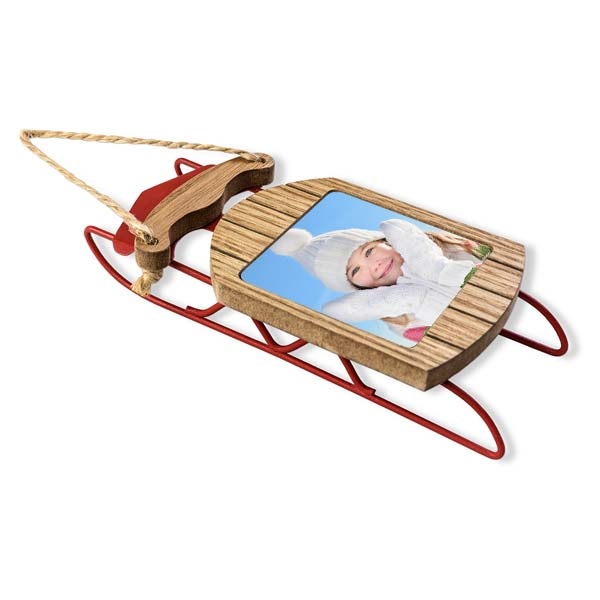 Create a custom sled photo ornament with your own picture, perfect for any tree