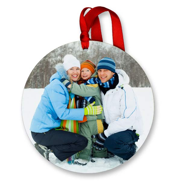 Circle shaped glossy photo ornament for the holidays and wine glasses