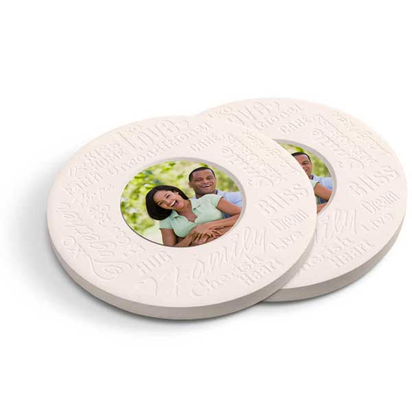 Beautiful stone photo coasters with inspirational family text for your home