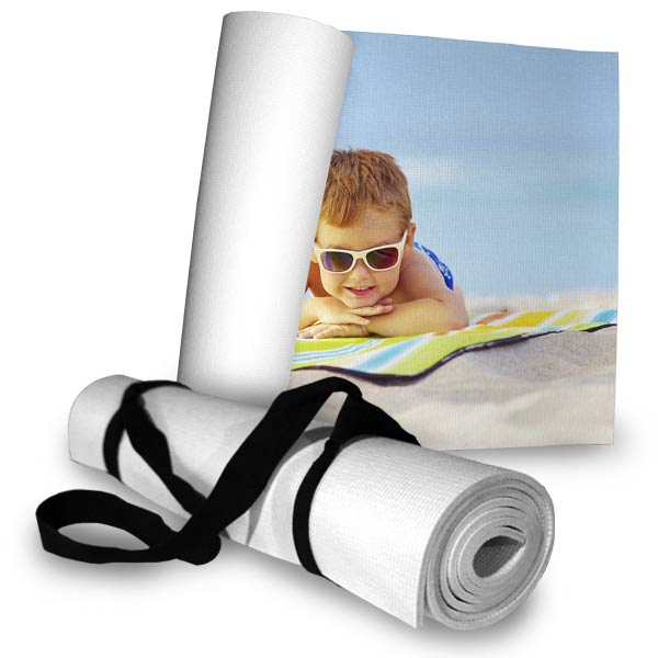 Create a personalized photo beach mat that easily rolls up when you are ready to go to the beach.