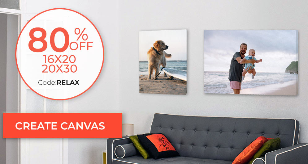Save up to 80% on custom photos printed on canvas